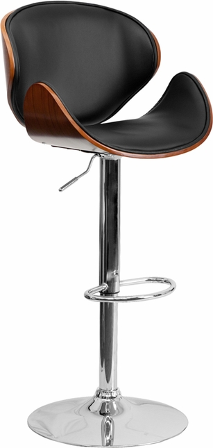 Walnut Bentwood Adjustable Height Barstool With Curved Black Vinyl Seat And Back