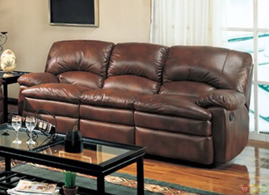 walter reclining sofa and love seat brown bonded leather living room set. Black Bedroom Furniture Sets. Home Design Ideas