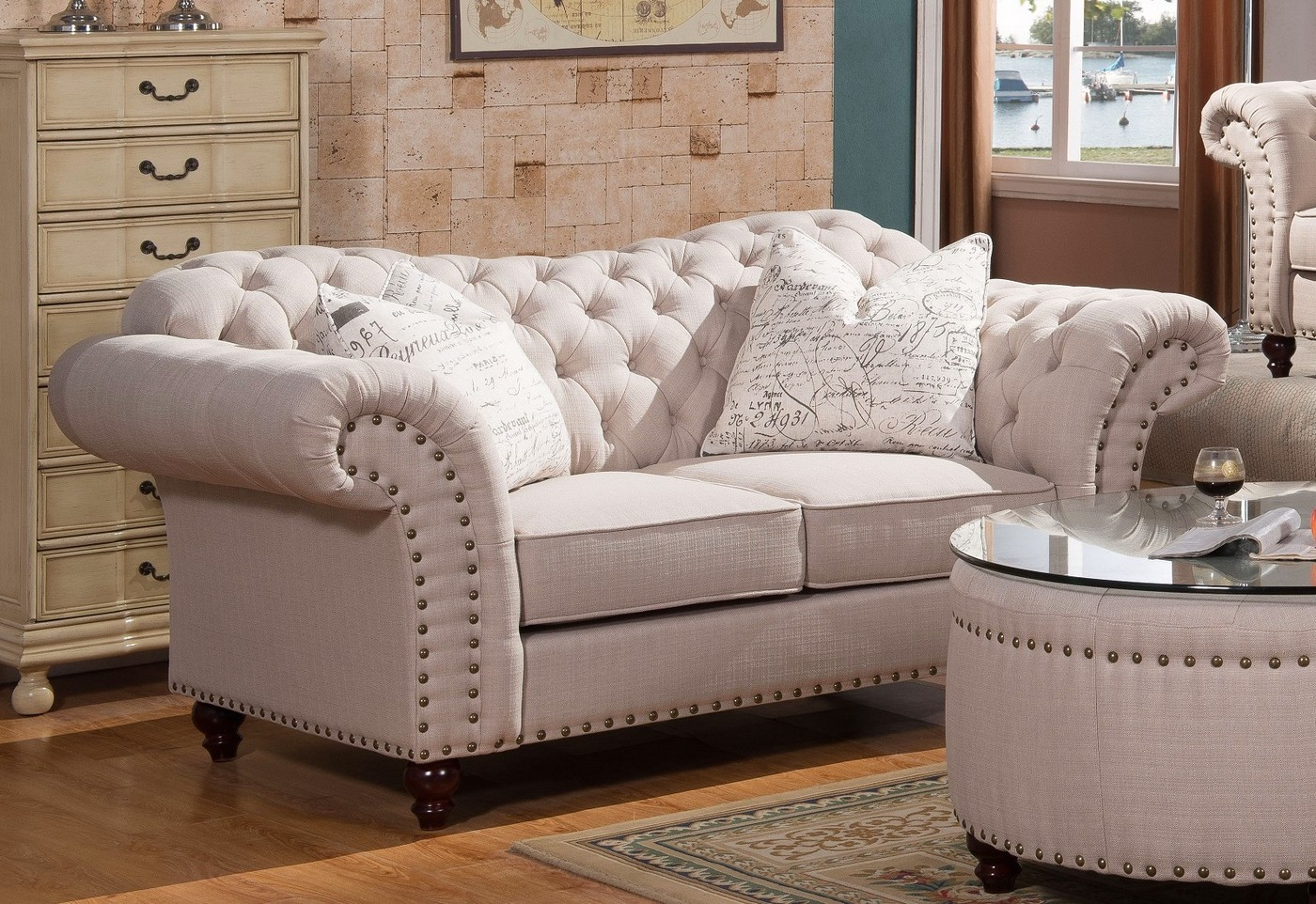 Walton classic sweetheart button tufted sofa loveseat for Tufted couch set