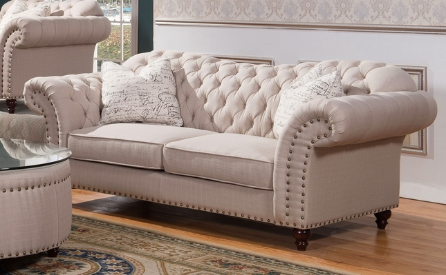 Walton traditional sweetheart button tufted sofa in beige for Tufted couch set