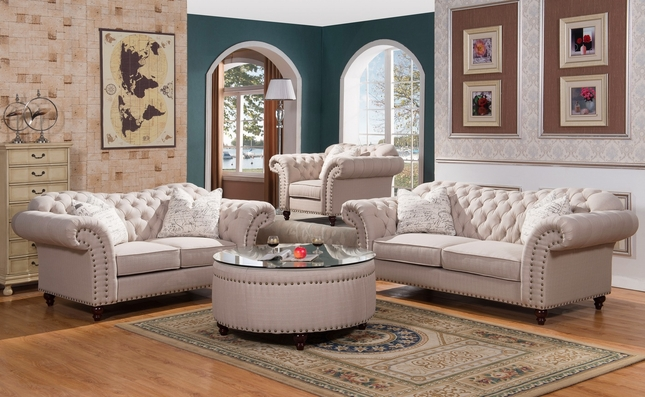 Classic Sweetheart Button Tufted Sofa Loveseat Set In Beige Linen