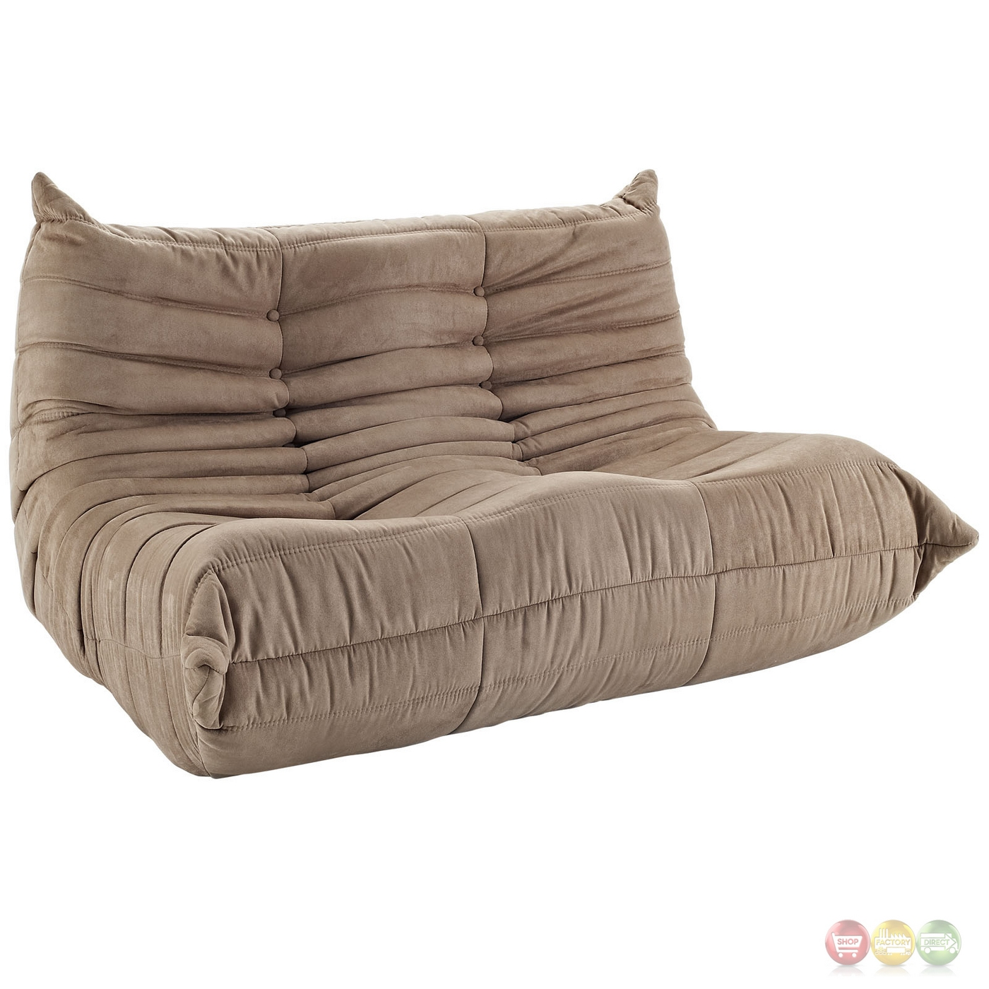 Wave Runner Contemporary Bean Bag Style Upholstered Loveseat Brown