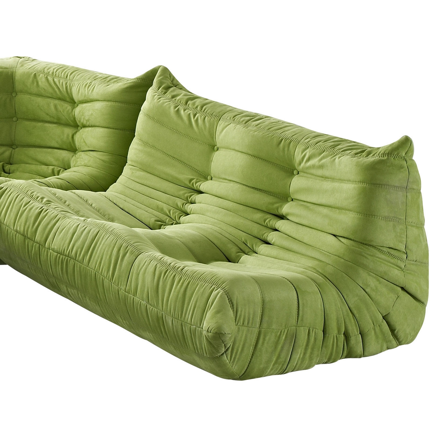 Wave Runner Contemporary Bean Bag Style Upholstered Loveseat Green