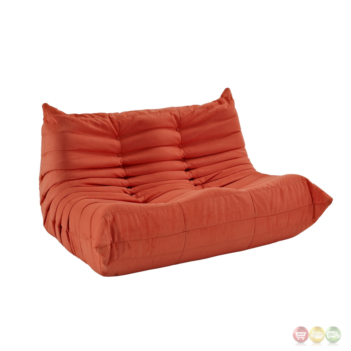 wave runner contemporary bean bag style upholstered loveseat orange