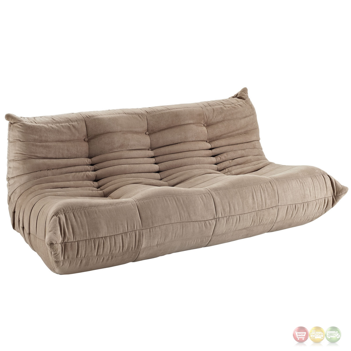 Wave Runner Contemporary Bean Bag Style Upholstered Sofa Brown