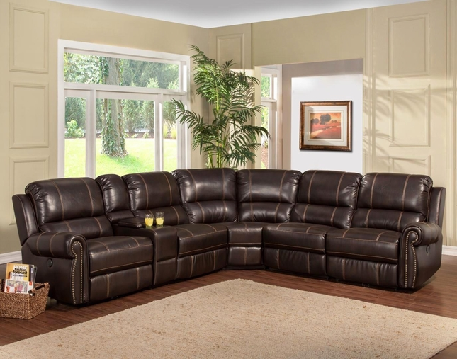 Webber Modular Transitional Power Sectional Sofa in Sumatra w/ Armless Recliner