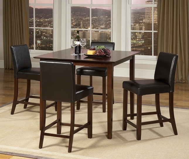Weitzman 5 Piece Counter Height Dining Room Set Square Table Cherry Finish