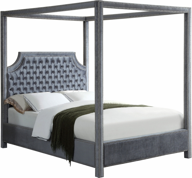 Wellington Button Tufted Grey Velvet Queen Canopy Bed with Nailhead Trim
