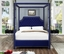 Wellington Button Tufted Navy Blue Velvet King Canopy Bed with Nailhead Trim