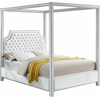 Wellington Button Tufted White Velvet Queen Canopy Bed with Nailhead Trim