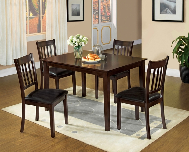 West Creek Contemporary Espresso Casual 5 pc Dining Set Faux Leather Seats