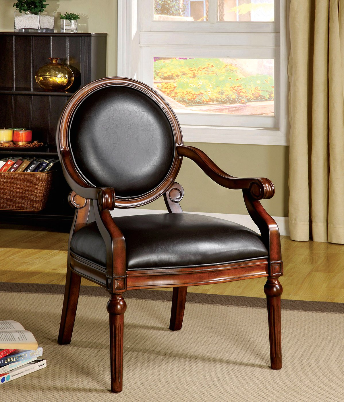 West point tobacco oak accent chair with padded