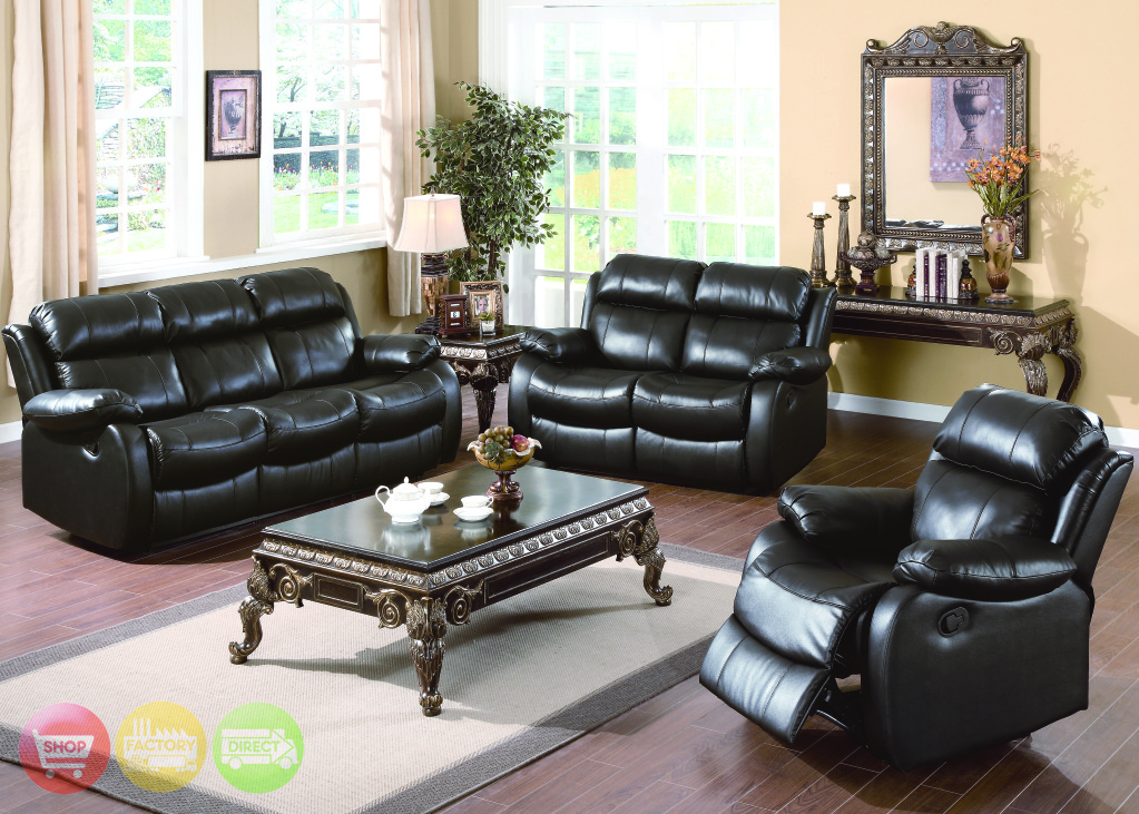 Weston contemporary genuine black leather motion living for Leather living room furniture