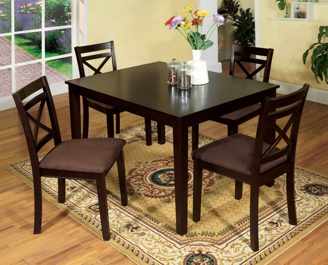 Weston Contemporary Dark 5 pc Casual Dining Set Microfiber Seats