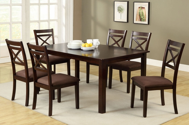 Weston Contemporary Espresso Casual 7 pc Dining Set Microfiber Chairs
