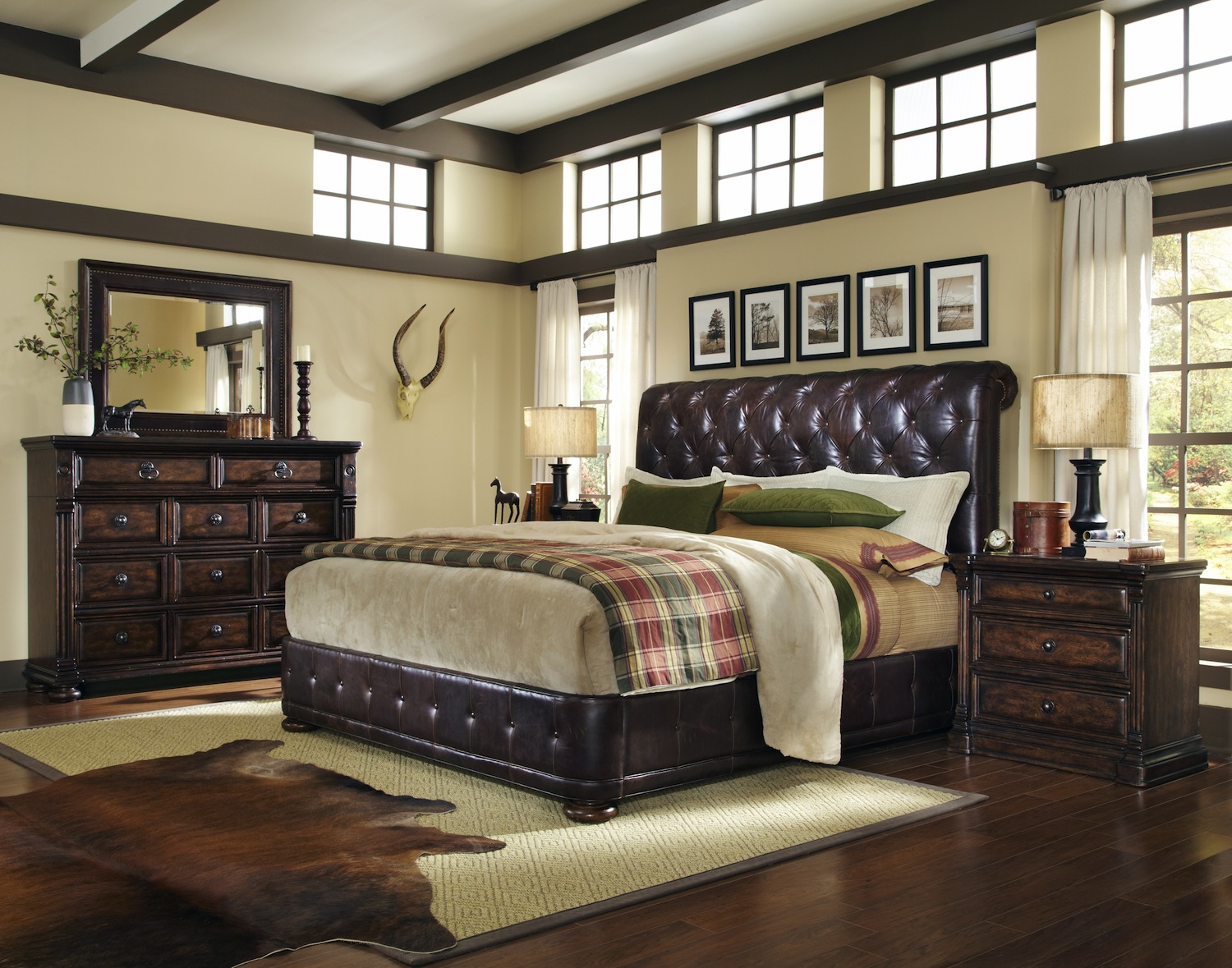 Whiskey Oak Rustic Inspired Upholstered Bedroom Furniture