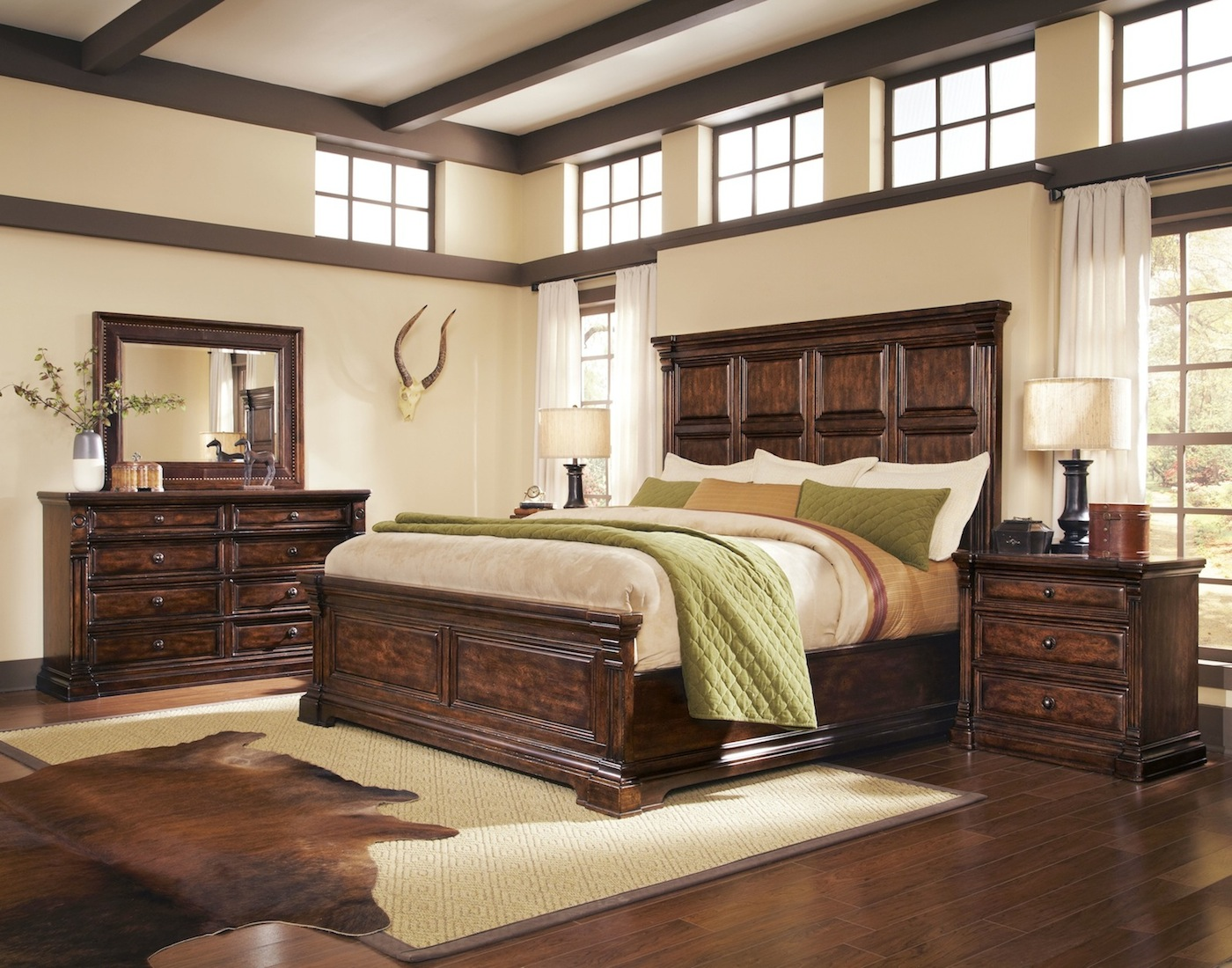 Whiskey oak rustic inspired wooden panel bedroom set 205000 for Bedroom furnishings