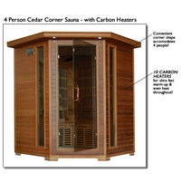 Whistler 4 Person Cedar FAR Infrared Corner Sauna Carbon Heater SA1320