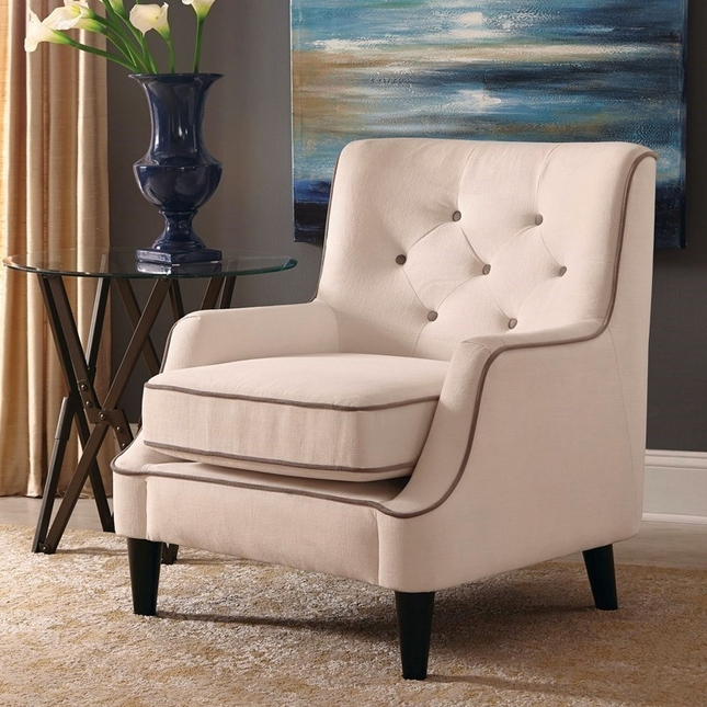 White Button Tufted Accent Chair With Cocoa Welted Trim