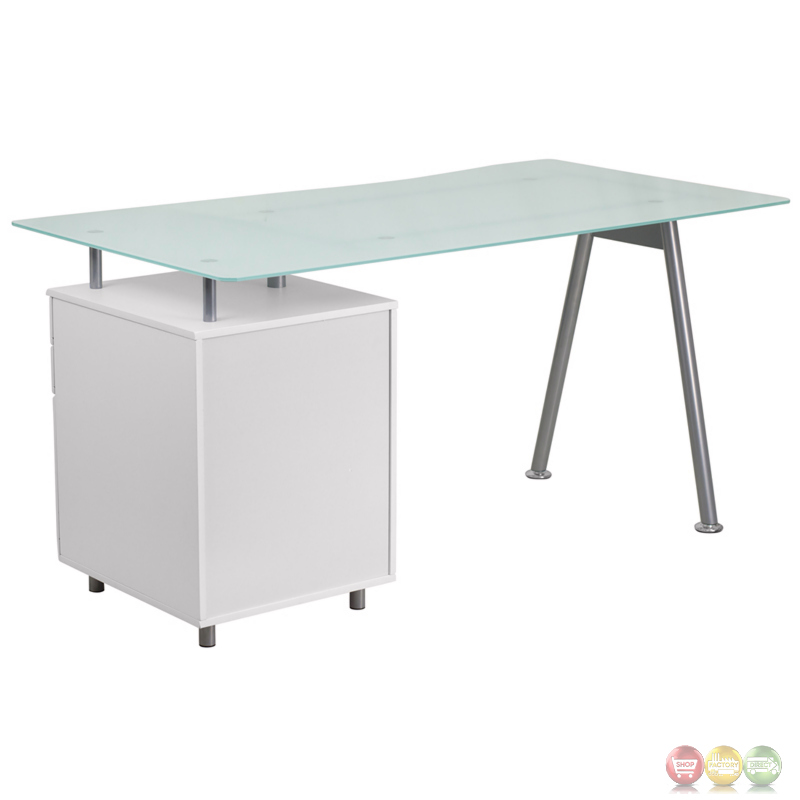 White Computer Desk With Glass Top And Three Drawer Pedestal