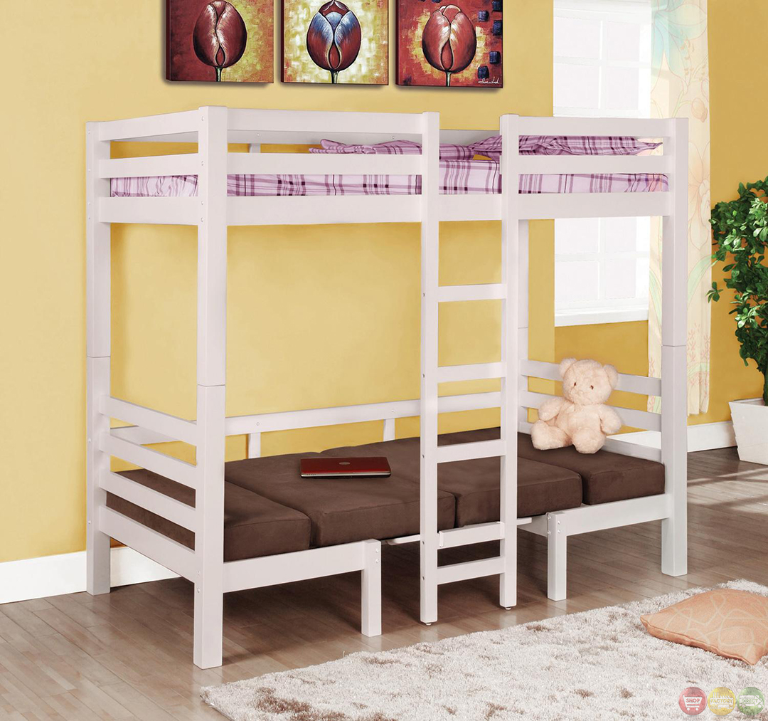 white finish play table twin over twin convertible bunk bed. Black Bedroom Furniture Sets. Home Design Ideas