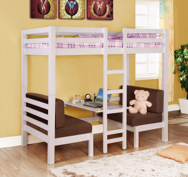 White Finish Play Table Twin Over Twin Convertible Bunk Bed