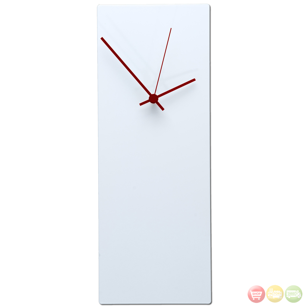 Whiteout Red Wall Clock Large Minimalist Modern L0177 L