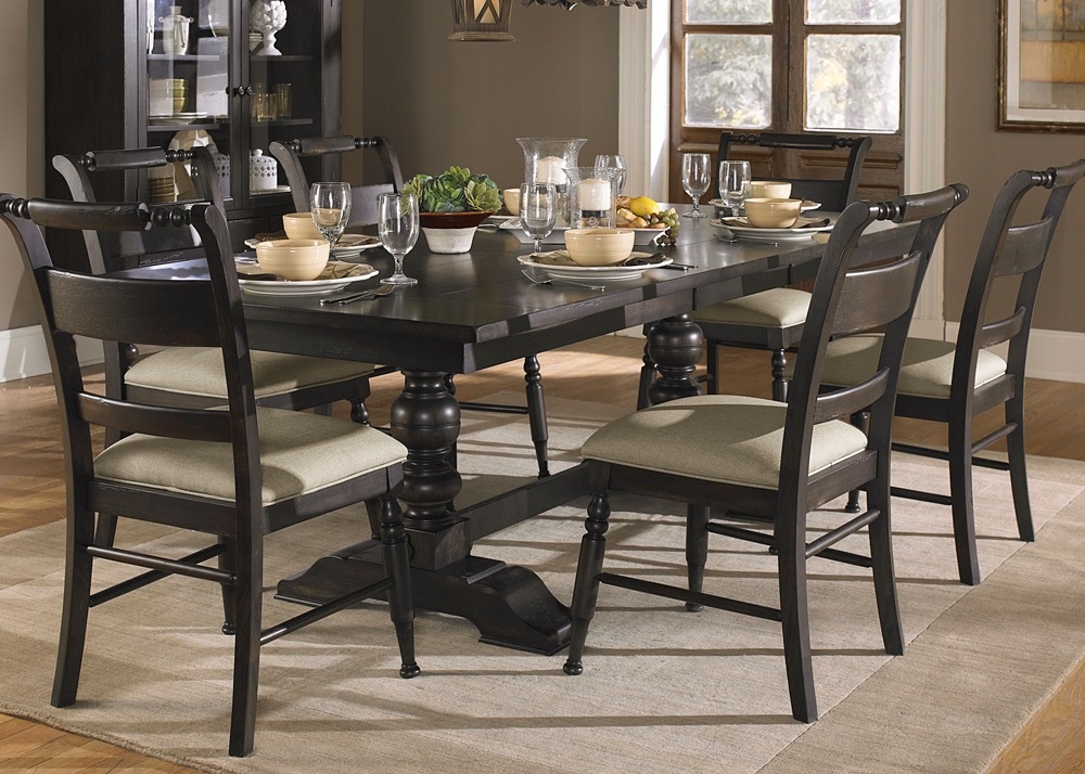 Whitney Black Cherry Finish Casual Dining Table Set
