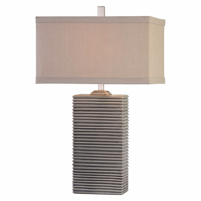 Whittaker Pale Blue Ribbed Ceramic Table Lamp With