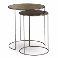 Williamsburg Antique Pot Metal Nesting Tables with Glass Top