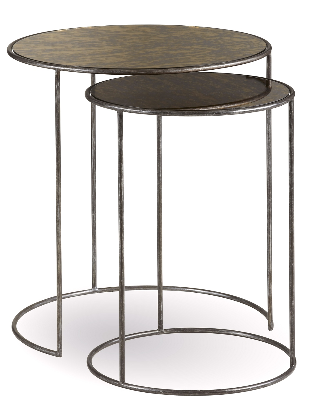 Williamsburg antique pot metal nesting tables with glass top for Glass top nesting tables