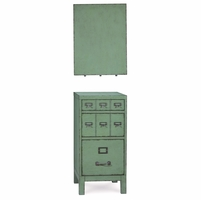 Williamsburg Distressed 3-Drawer Factory Green File Cabinet