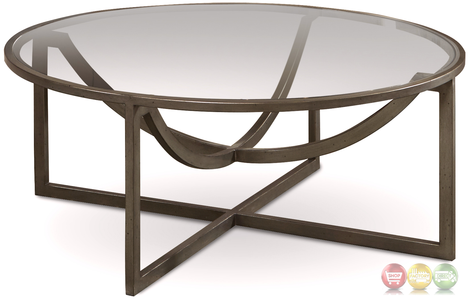 Williamsburg glass top grey metal cocktail table with distressed finish Metal glass top coffee table