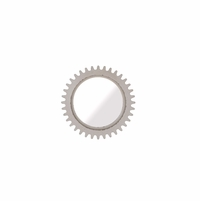 "Williamsburg Industrial Gear Mirror in Antiqued White, 36"" Round"