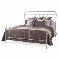 Williamsburg Queen Metal Frame Bed with White Distressed Finish