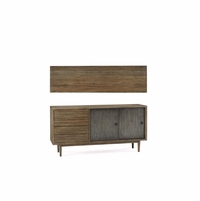 Williamsburg Sliding Door 3-Drawer Pine Sideboard With Reclaimed Finish