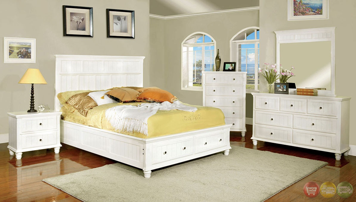 Willow creek cottage white storage bedroom set with 2 drawers in footboard cm7690wh for Bedroom set with storage drawers