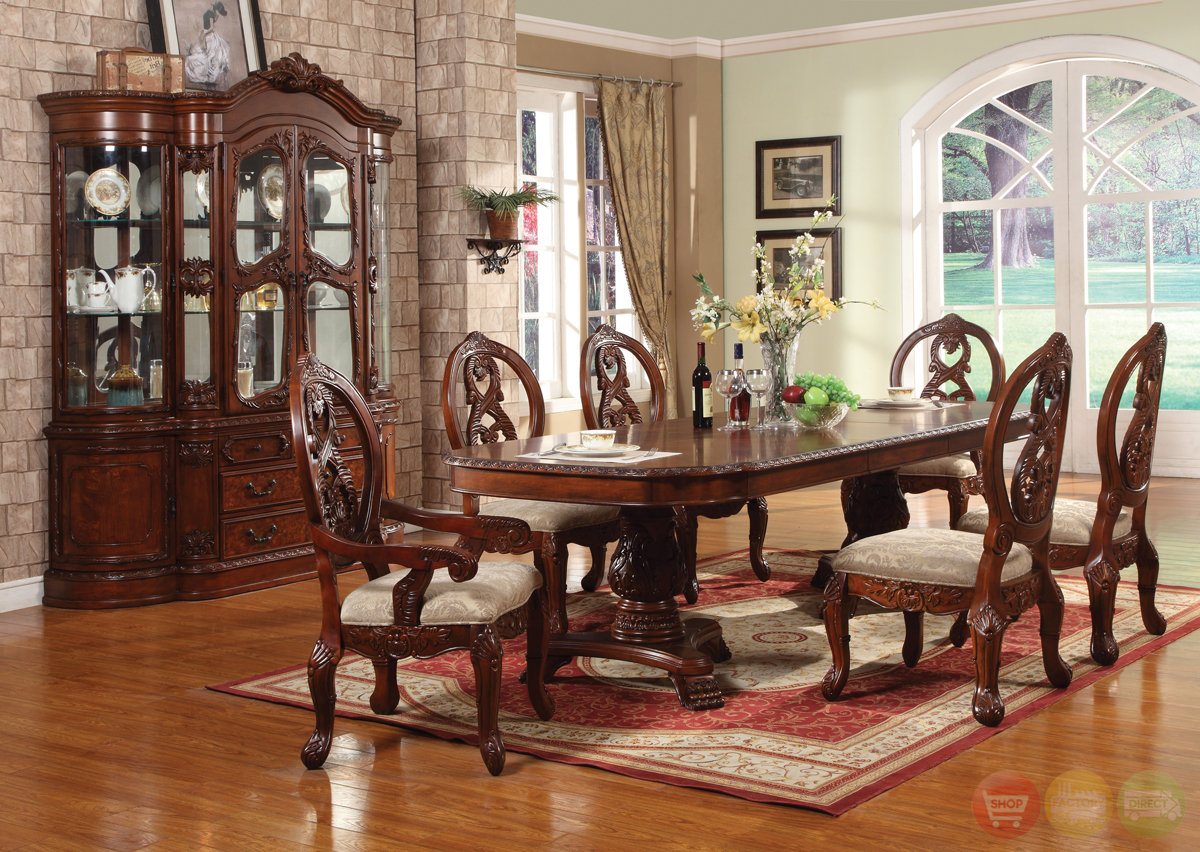 Windham formal dining set cherry wood carved table chairs for Wooden dining room furniture