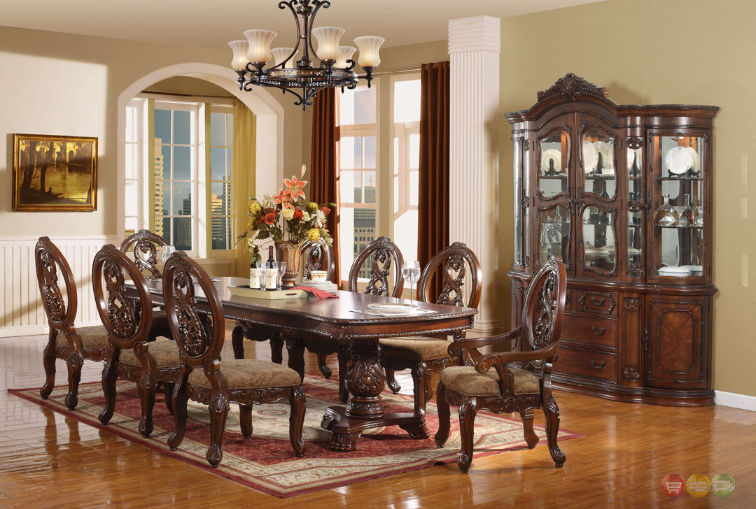 Windham formal dining set walnut brown wood carved dining for Wooden dining room furniture