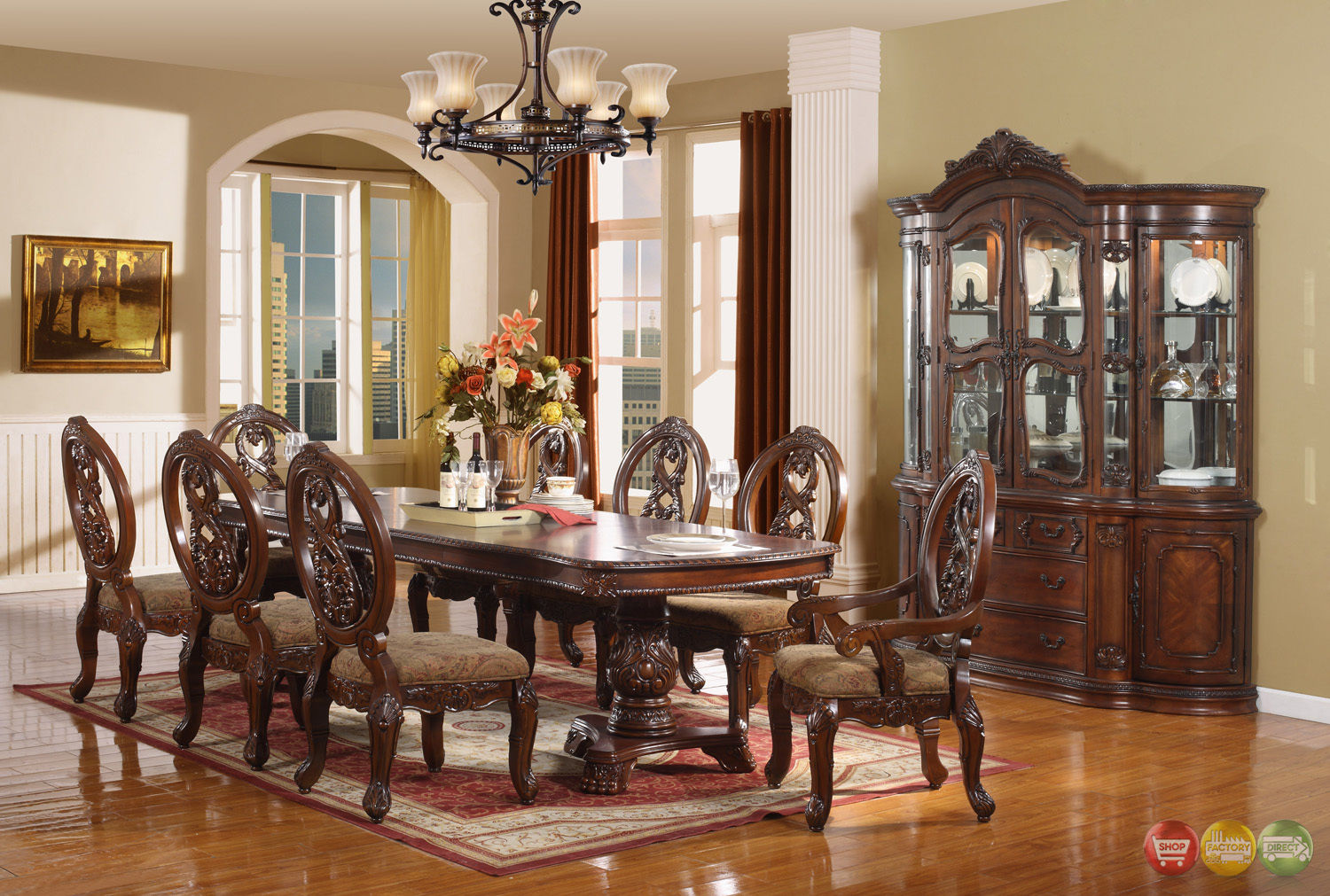 Windham Formal Dining Set Cherry Brown Wood Carved Dining