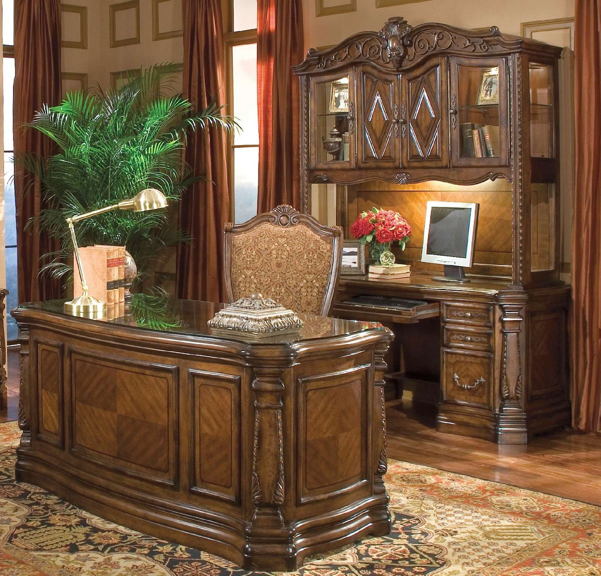 Michael amini windsor court home office set in honey walnut by aico for Aico windsor court living room