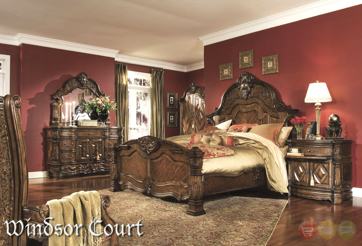 Michael Amini Windsor Court Vintage Fruitwood Finish Traditional Bed Room Set By Aico