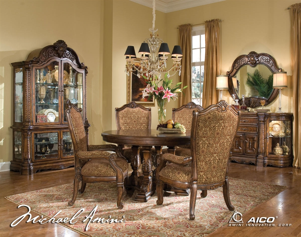 Michael amini windsor court fruitwood traditional round for Traditional round dining room sets