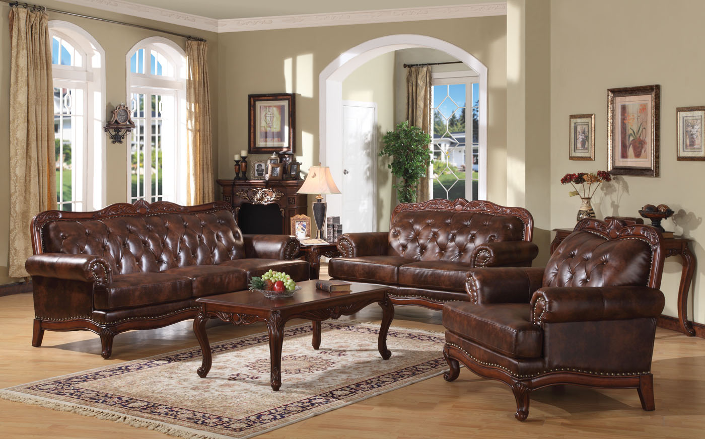 Birmingham brown button tufted leather sofa set carved