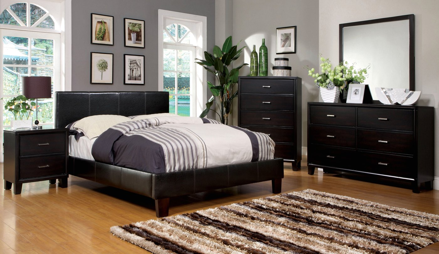 Winn park contemporary espresso platform bedroom set with for Furniture and beds
