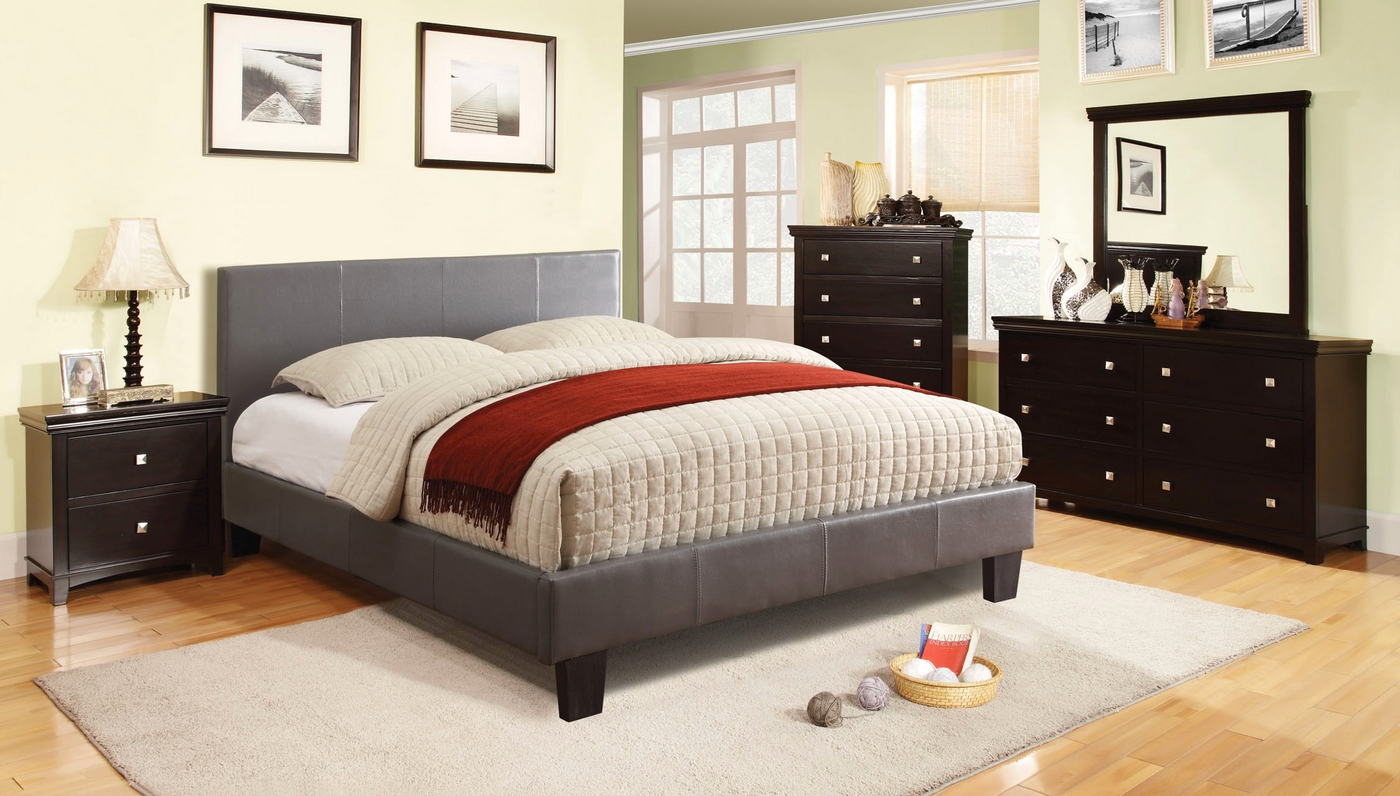 winn park contemporary gray platform bedroom set with padded leatherette cm7008gy. Black Bedroom Furniture Sets. Home Design Ideas