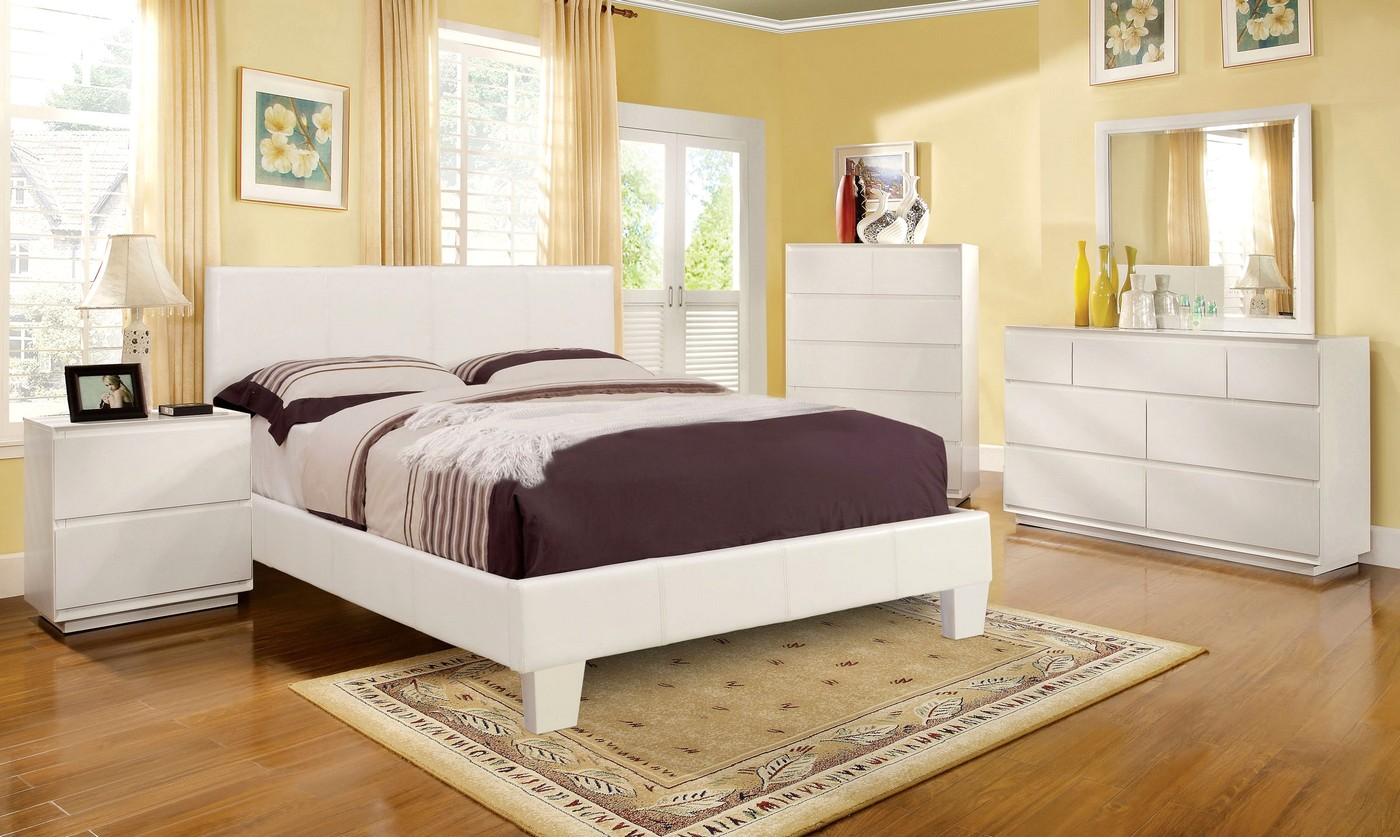 Winn Park Contemporary White Platform Bedroom Set With