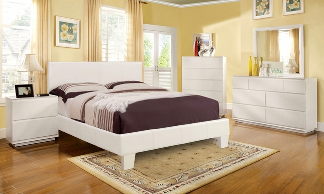 Winn Park Contemporary White Platform Bedroom Set with Padded