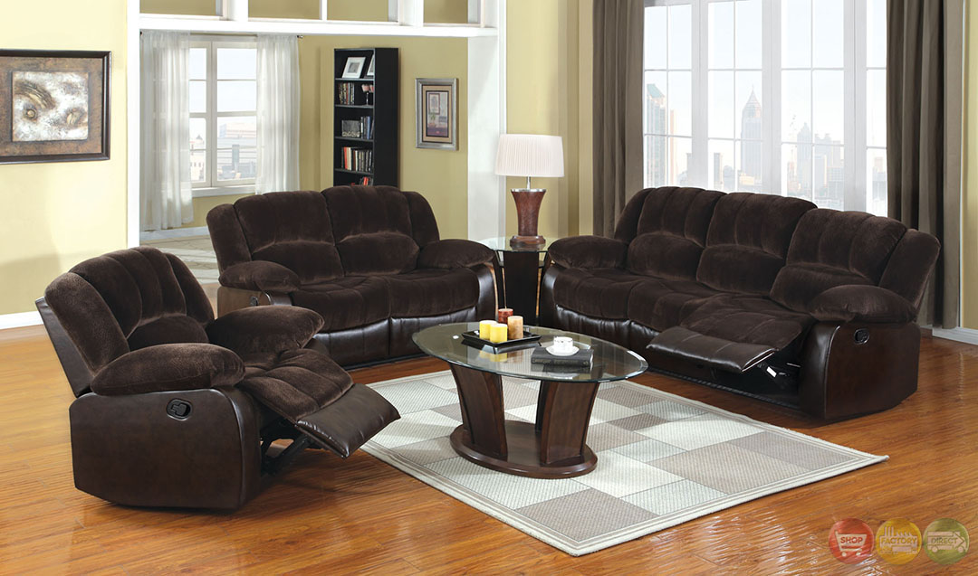Winslow traditional dark brown living room set with plush for Traditional living room sets