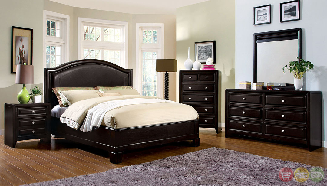 Winsor Contemporary Espresso Platform Bedroom Set With Padded Leatherette Headboard Cm7058